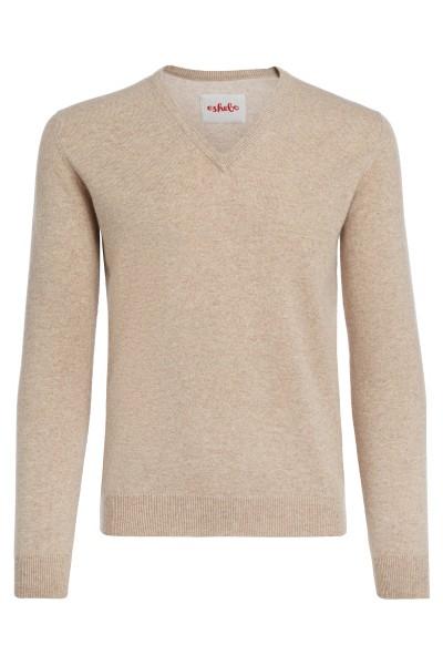Kasjmier sweater V-hals heren sand beige